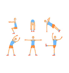 senior man doing morning exercises collection vector image