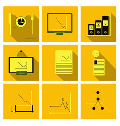Set finance and banking icons simple elements vector