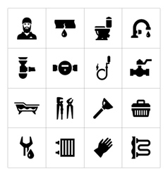 Set icons of plumbing vector image