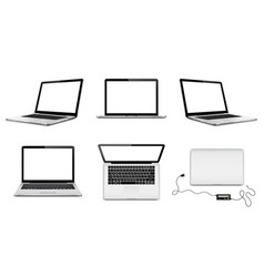 set laptops with blank screens vector image