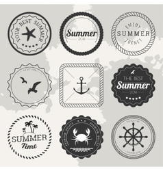 Set of 9 design summer elements frames borders vector image