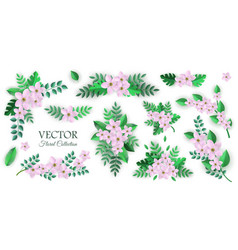 set of floral compositions in vector image
