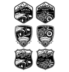 Set of retro badges with car and motorcycle on vector
