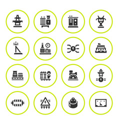 Set round icons of power industry vector