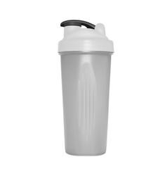 Shaker for protein shakes in on white backg vector