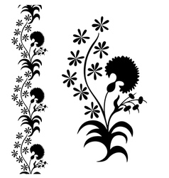 Silhouette flower black pattern vector