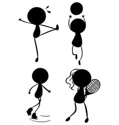 Silhouettes of people playing with the different vector image