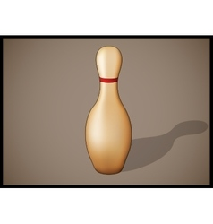 Single bowling pin with red stripes isolated vector image