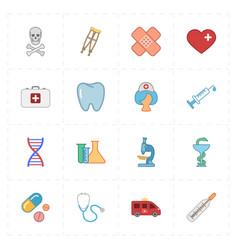 Sixteen flat medicine icons vector