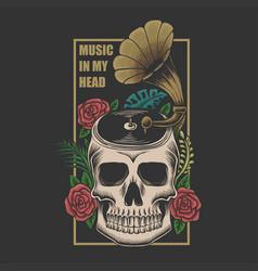 Skull music in head vector