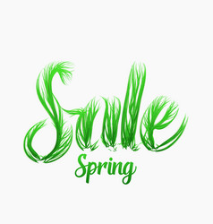 Spring sale concept with grassy letters vector