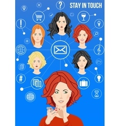 Stay in touch design concept vector image