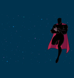 Super dad with baby space silhouette vector