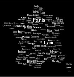 Text graphic France map vector image