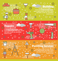 thin line repair web banner template set vector image