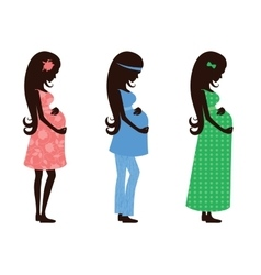 Three figures of a pregnant woman vector image