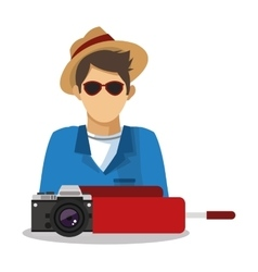 Tourist man cartoon design vector