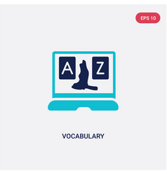Two color vocabulary icon from e-learning and vector