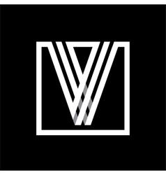 V capital letter made of stripes enclosed vector