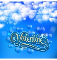 Valentines Day Card with clouds balloons and gold vector