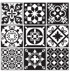 Vintage monochrome repeating tiles moroccan vector