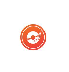 vinyl disk for dj mixing music logo design in the vector image
