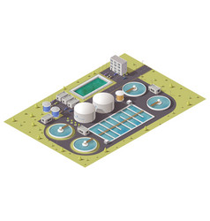 Waste water treatment plant isometric icon vector