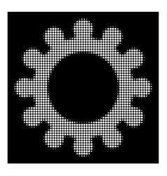 white halftone cog icon vector image