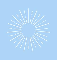 white sun rays on blue background flat design sun vector image