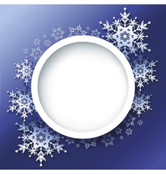 Winter background frame with 3d ornate snowflakes vector image