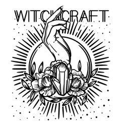 Witchcraft witch hand magic crystal and flowers vector