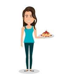 Woman cartoon holding dessert cake isolated vector