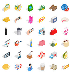 Woman icons set isometric style vector