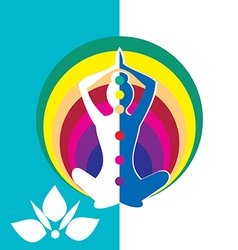 Woman silhouette in sitting lotus position vector