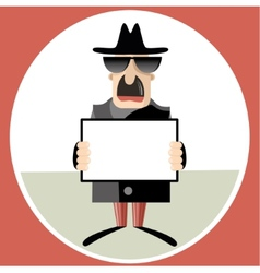 Abstract of spy holding paper sheet vector image