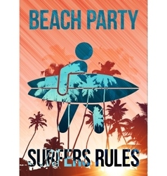 Beach surfers party poster template vector image vector image