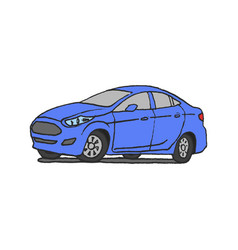 Car blue doodle hand drawn vector