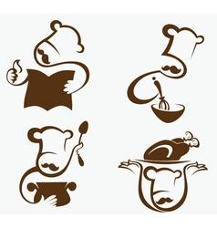 Cooking symbols and professionals emblems vector