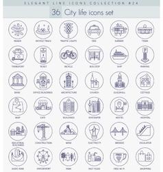 Modern city outline icon set Elegant thin vector image vector image