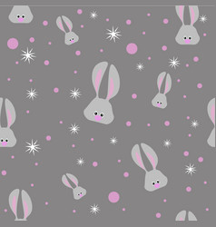 seamless easter pattern with gray rabbits and vector image
