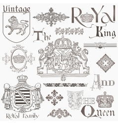 Set of vintage royalty design elements vector