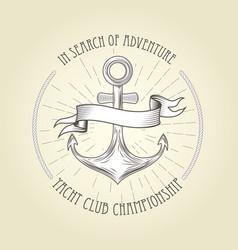 vintage seafaring emblem - anchor and wavy banner vector image vector image