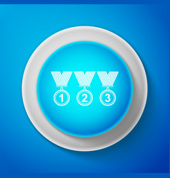 white medal set icon isolated on blue background vector image
