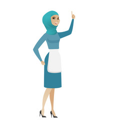 young muslim cleaner pointing with her forefinger vector image