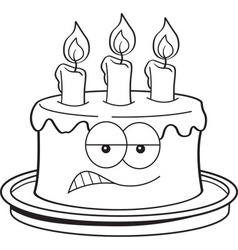 Cartoon Angry Birthday Cake vector image