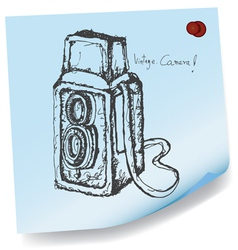 drawing of vintage camera on sticky paper vector image