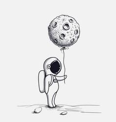 funny astronaut keeps abstract balloon like a moon vector image vector image