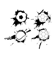 set of hand drawn grunge banners with soccer ball vector image