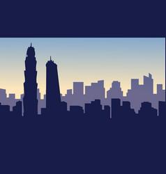 Silhouette of building hotel on dubai scenery vector