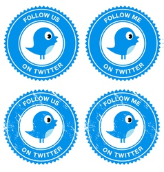 Blue bird social media follow retro labels vector image